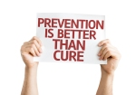 Prevention is Better than Cure card isolated on white background